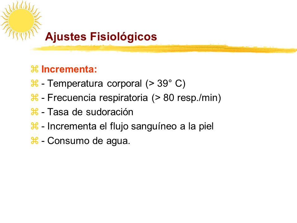 Ajustes Fisiológicos Incrementa: - Temperatura corporal (> 39° C)