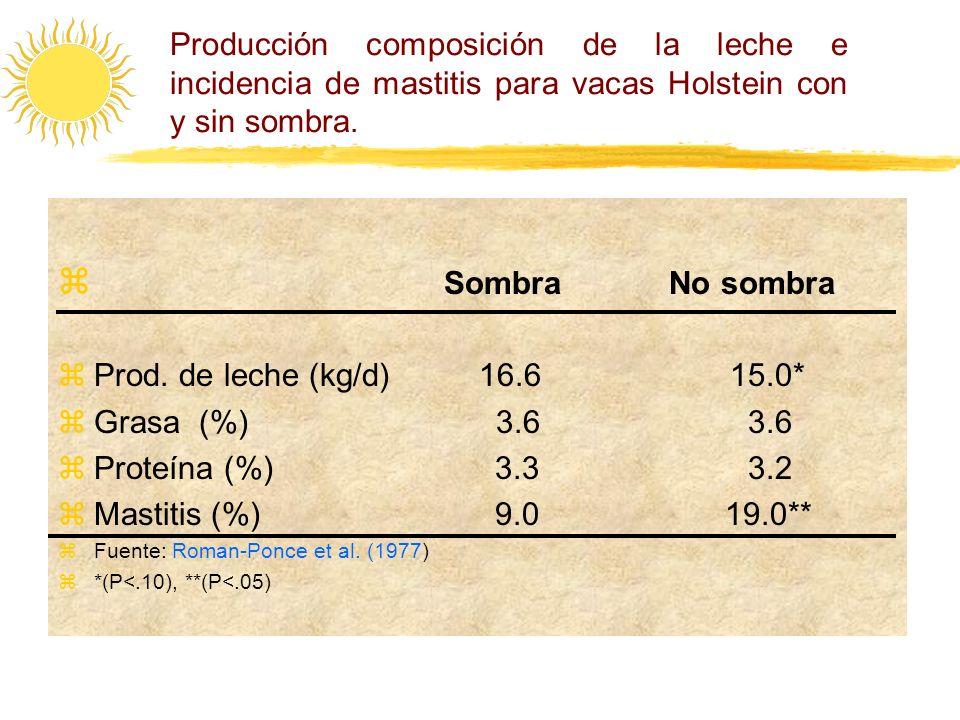 Producción composición de la leche e incidencia de mastitis para vacas Holstein con y sin sombra.