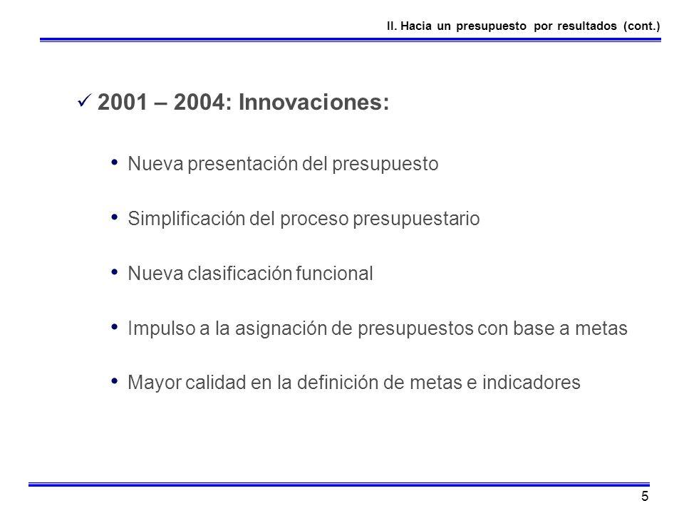 2001 – 2004: Innovaciones: Nueva presentación del presupuesto