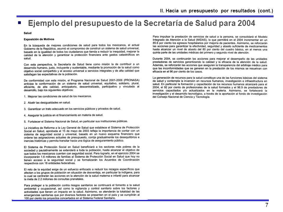 Ejemplo del presupuesto de la Secretaría de Salud para 2004
