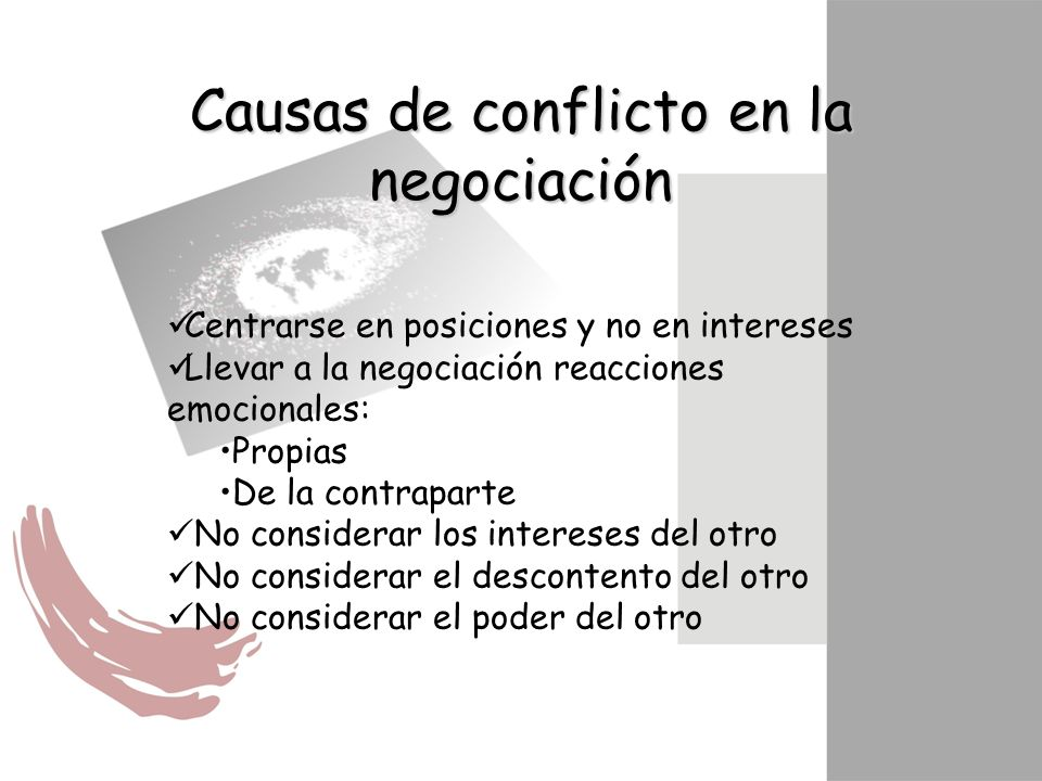 Causas de conflicto en la negociación