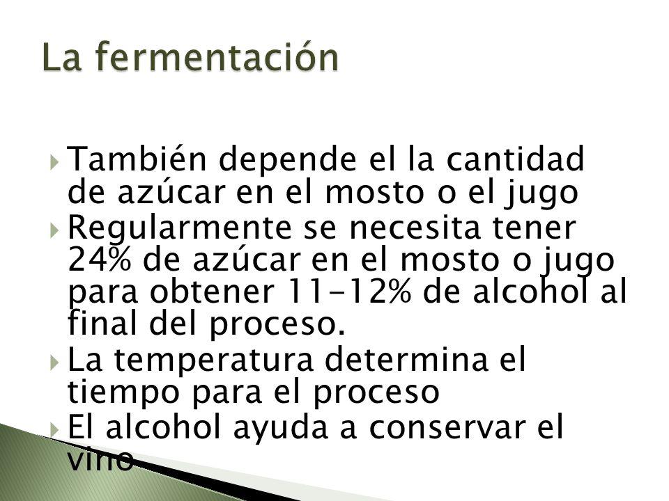 La fermentación También depende el la cantidad de azúcar en el mosto o el jugo.