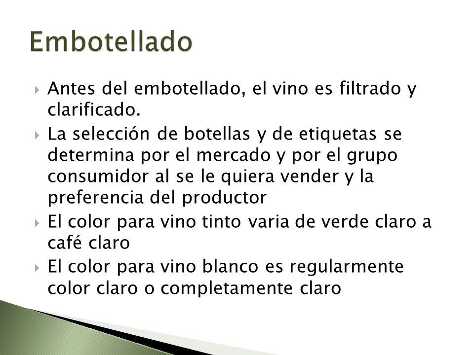 Embotellado Antes del embotellado, el vino es filtrado y clarificado.