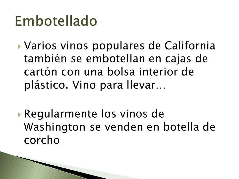 Embotellado Varios vinos populares de California también se embotellan en cajas de cartón con una bolsa interior de plástico. Vino para llevar…