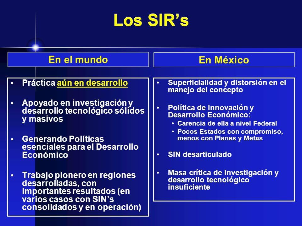Los SIR's En el mundo En México Práctica aún en desarrollo