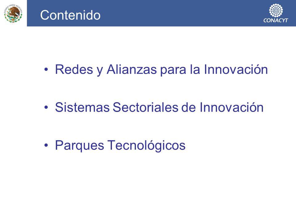 Contenido Redes y Alianzas para la Innovación. Sistemas Sectoriales de Innovación.