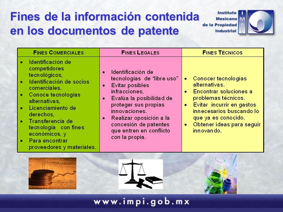 Fines de la información contenida en los documentos de patente
