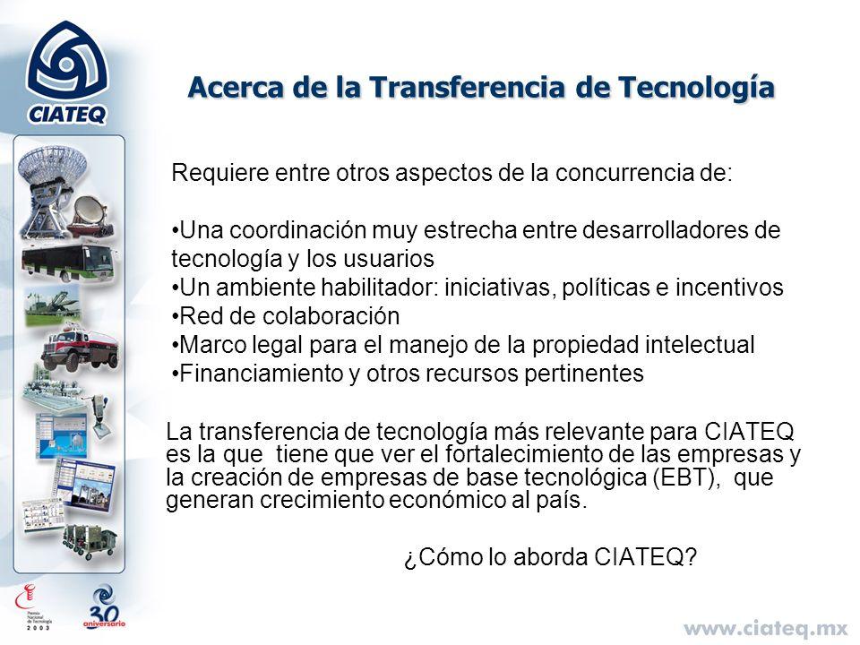 Acerca de la Transferencia de Tecnología