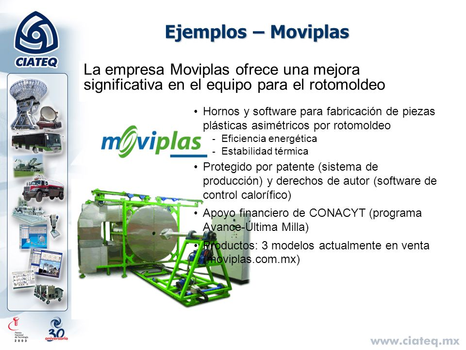 Ejemplos – MoviplasLa empresa Moviplas ofrece una mejora significativa en el equipo para el rotomoldeo.