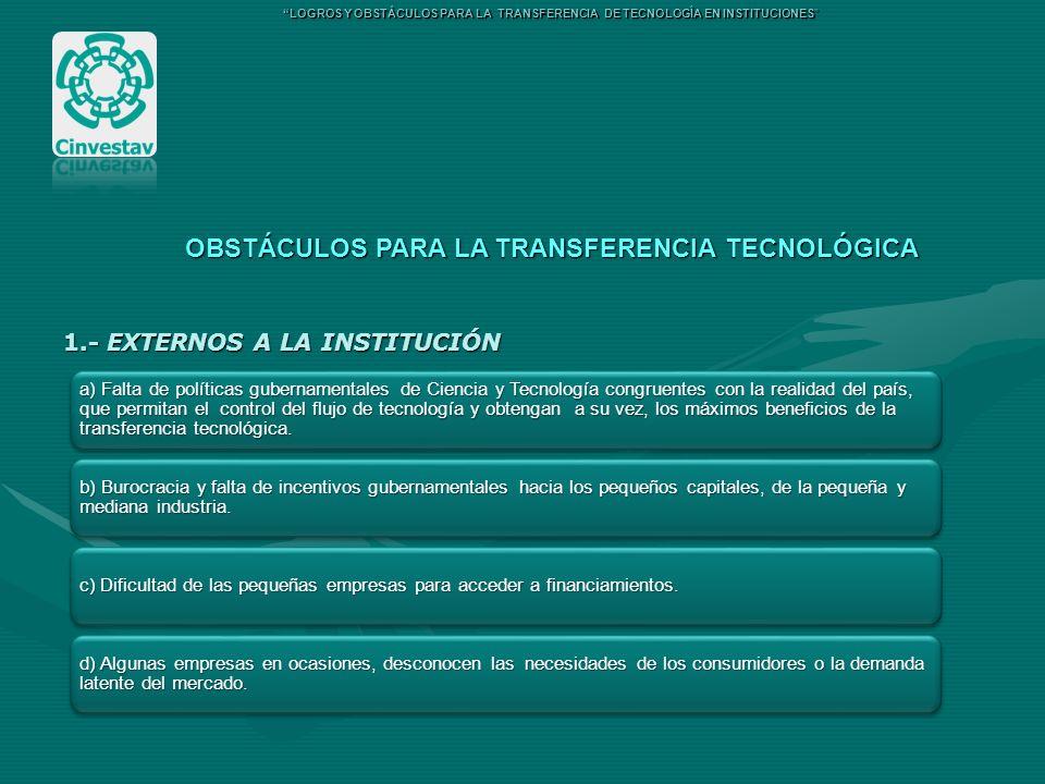 OBSTÁCULOS PARA LA TRANSFERENCIA TECNOLÓGICA