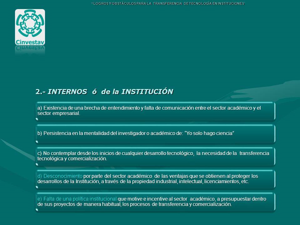 2.- INTERNOS ó de la INSTITUCIÓN