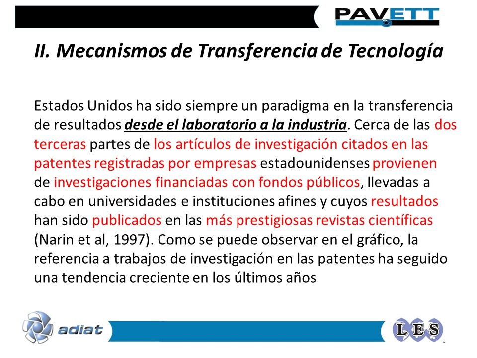II. Mecanismos de Transferencia de Tecnología