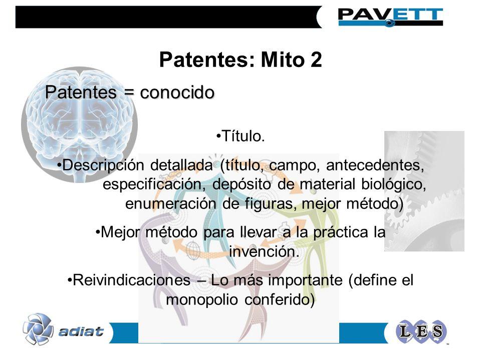 Patentes: Mito 2 Patentes = conocido Título.