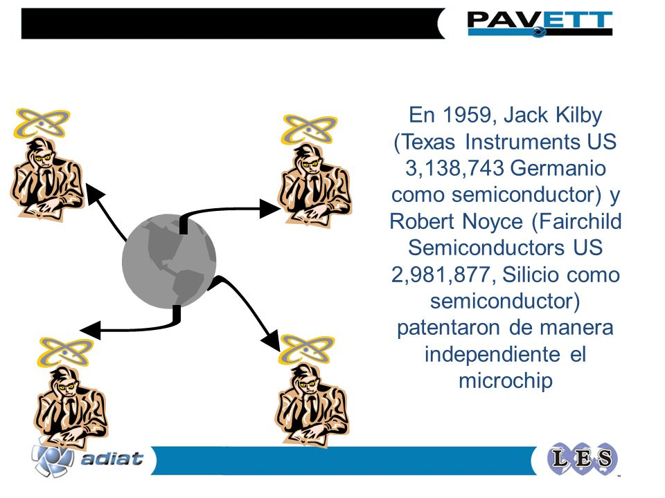 En 1959, Jack Kilby (Texas Instruments US 3,138,743 Germanio como semiconductor) y Robert Noyce (Fairchild Semiconductors US 2,981,877, Silicio como semiconductor) patentaron de manera independiente el microchip