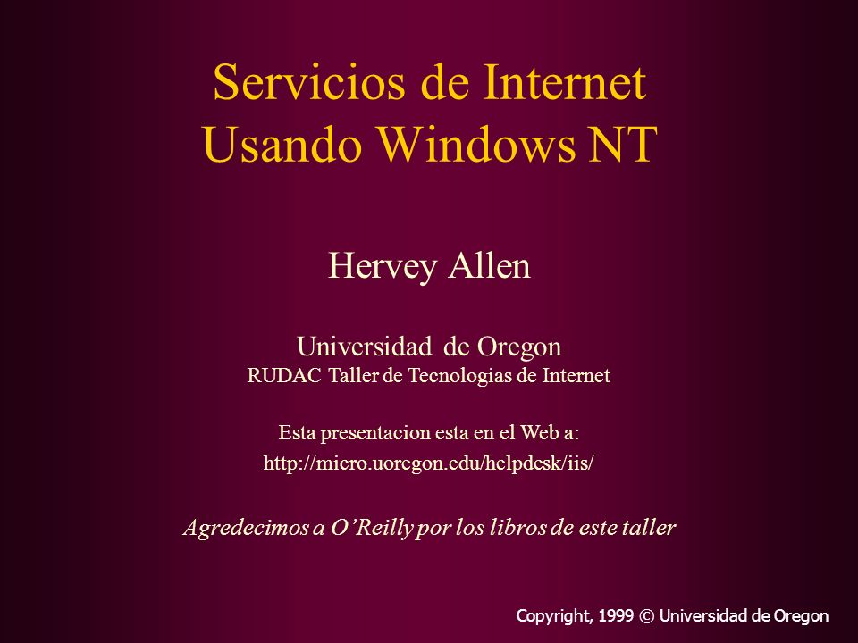 Servicios de Internet Usando Windows NT