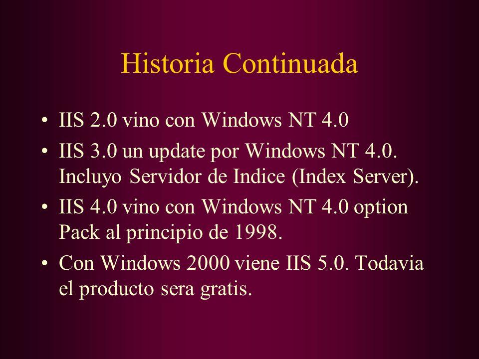 Historia Continuada IIS 2.0 vino con Windows NT 4.0