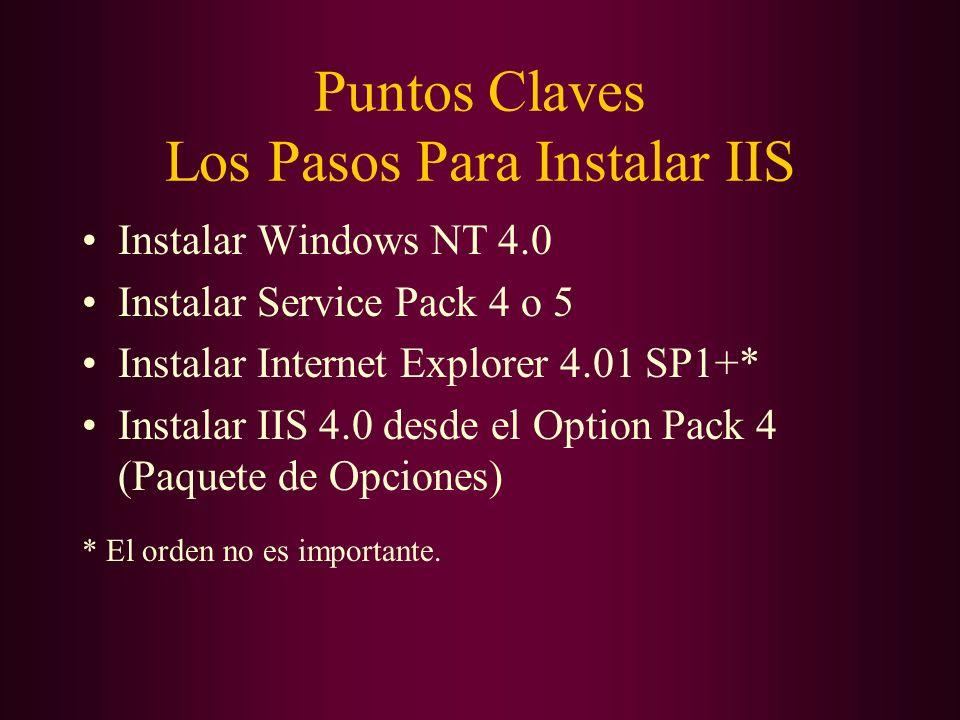 Puntos Claves Los Pasos Para Instalar IIS