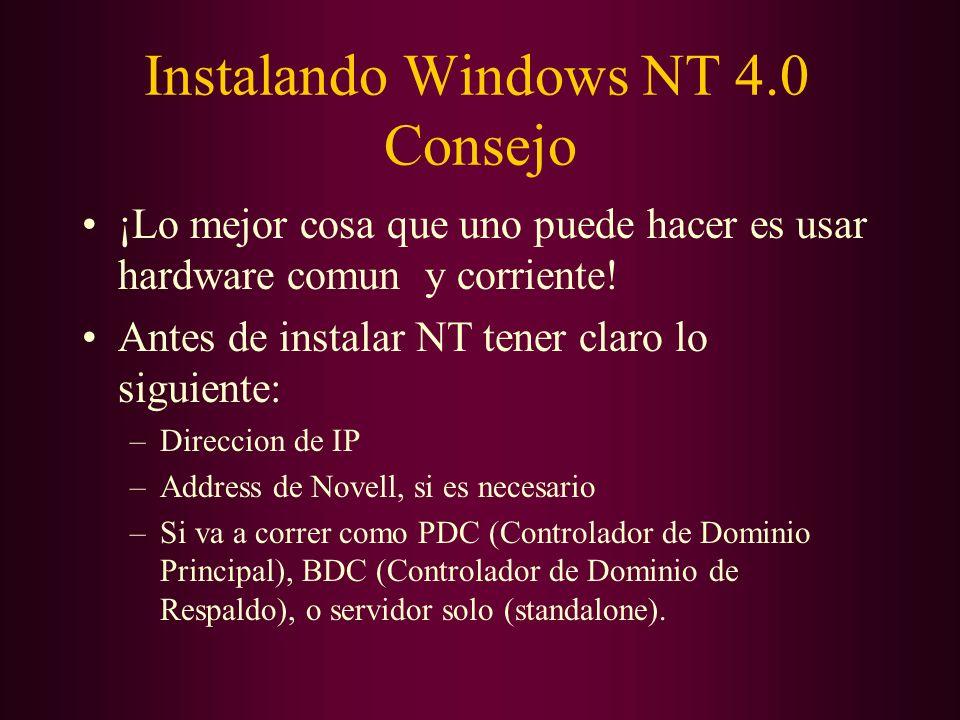 Instalando Windows NT 4.0 Consejo