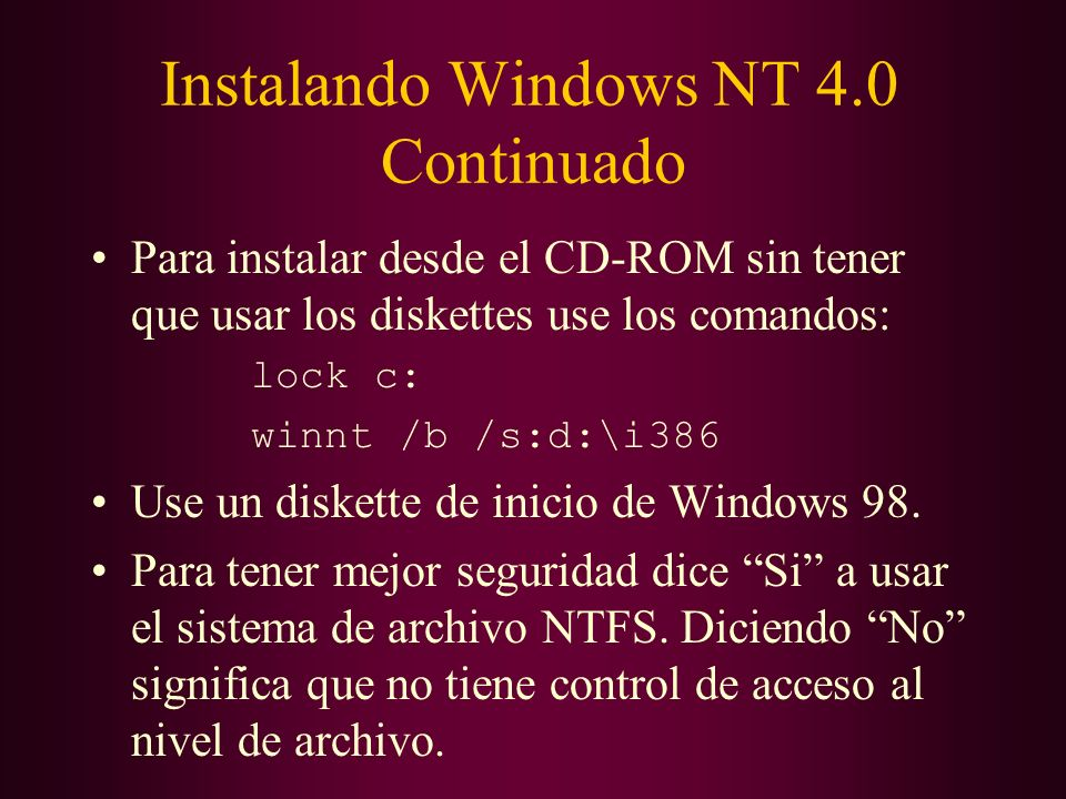 Instalando Windows NT 4.0 Continuado