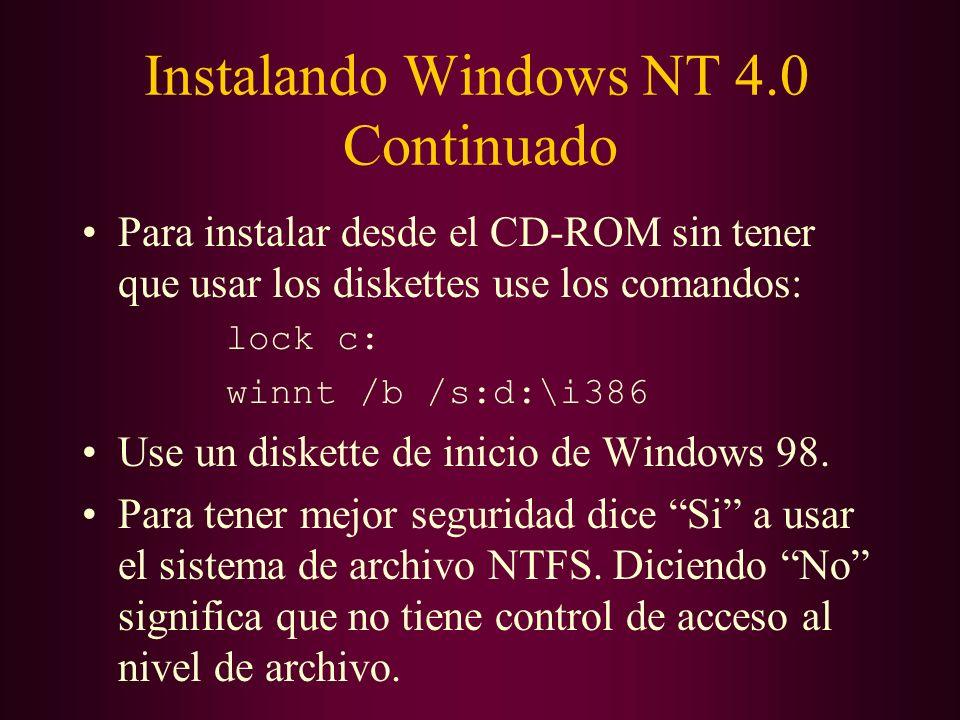 Instalando Windows NT 4.0 Continuado