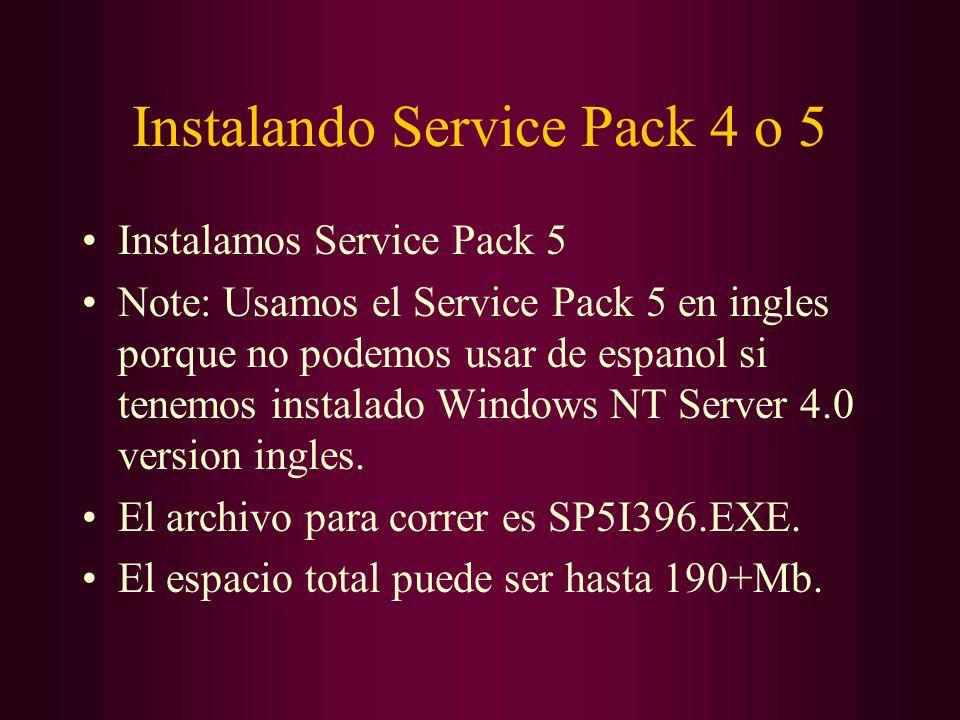 Instalando Service Pack 4 o 5