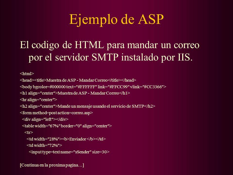 Ejemplo de ASP El codigo de HTML para mandar un correo por el servidor SMTP instalado por IIS. <html>