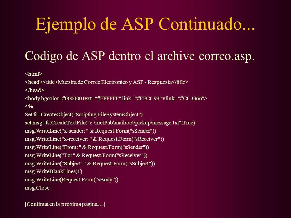 Ejemplo de ASP Continuado...