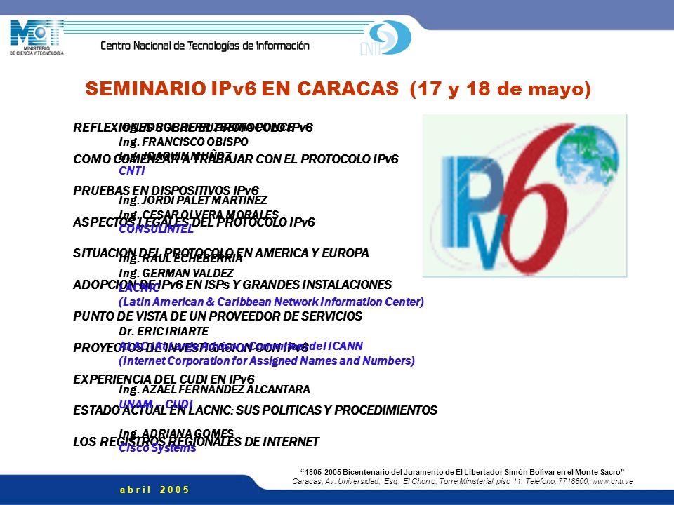SEMINARIO IPv6 EN CARACAS (17 y 18 de mayo)