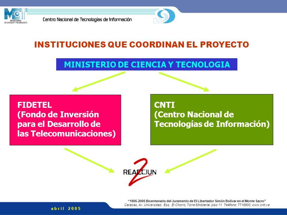 INSTITUCIONES QUE COORDINAN EL PROYECTO