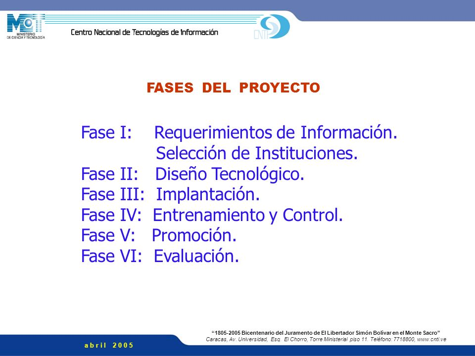 Fase I: Requerimientos de Información. Selección de Instituciones.