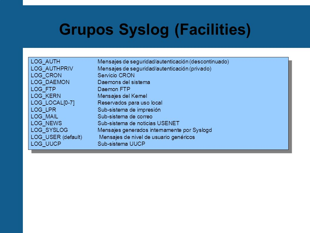 Grupos Syslog (Facilities)
