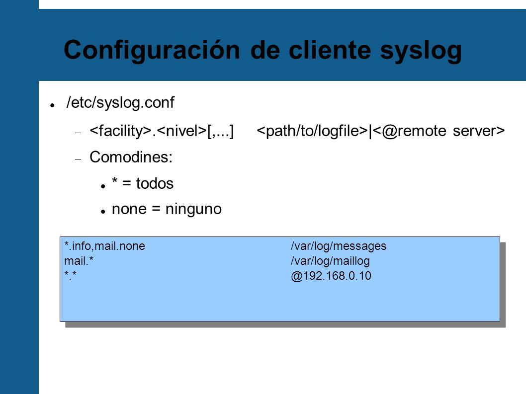Configuración de cliente syslog