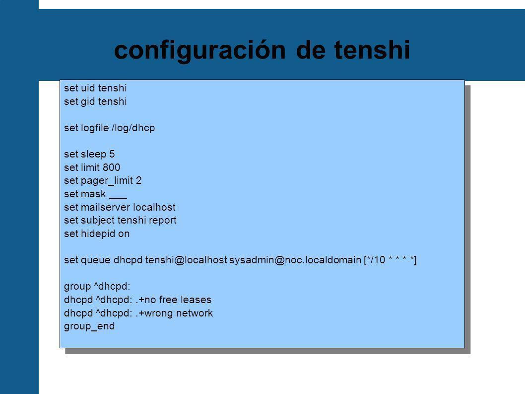 configuración de tenshi