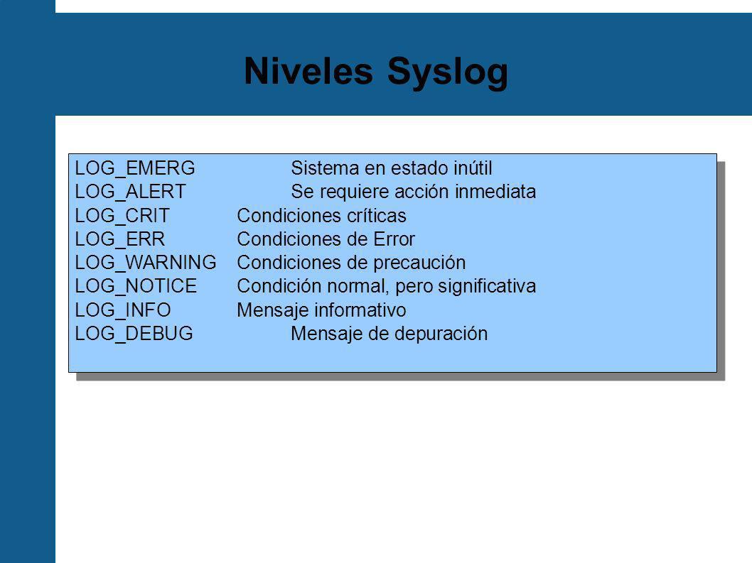 Niveles Syslog LOG_EMERG Sistema en estado inútil
