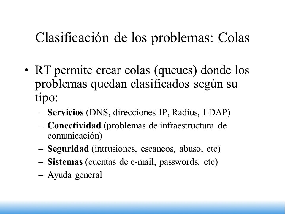 Clasificación de los problemas: Colas
