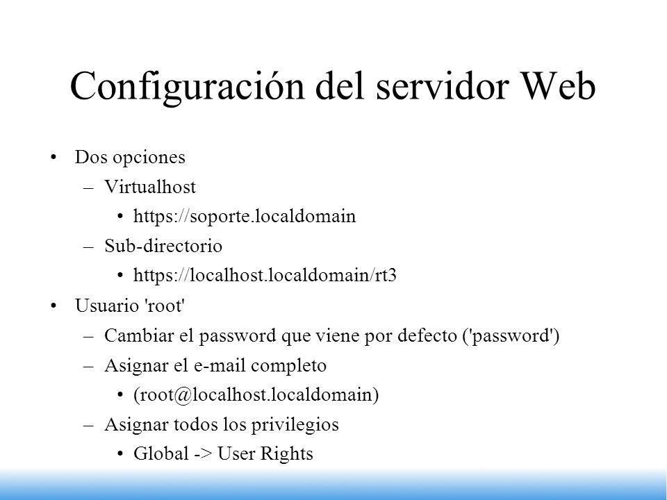 Configuración del servidor Web
