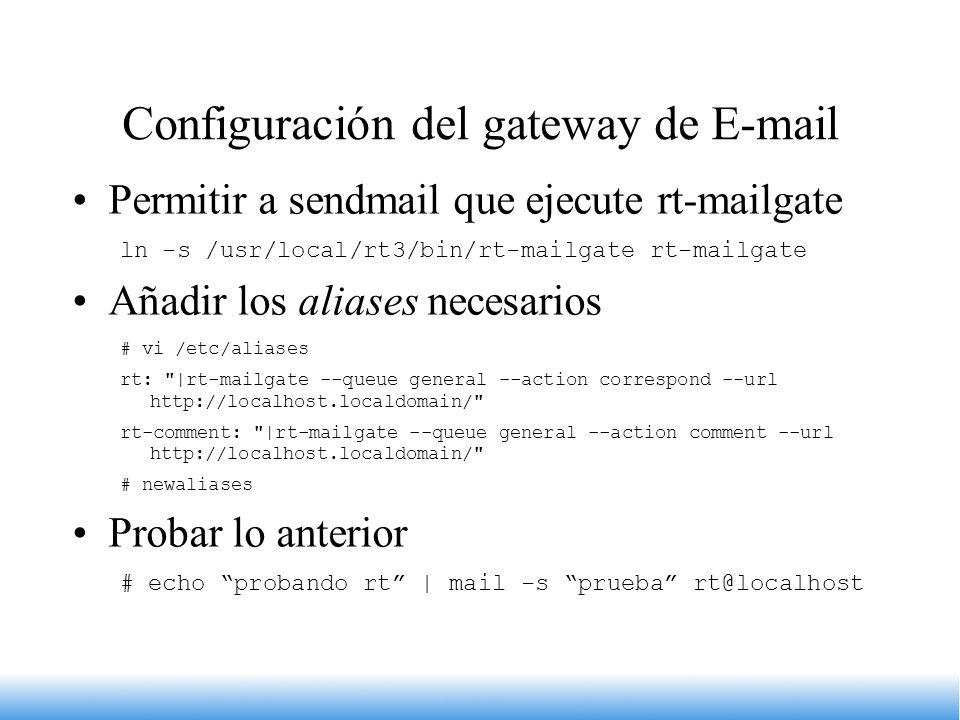 Configuración del gateway de E-mail