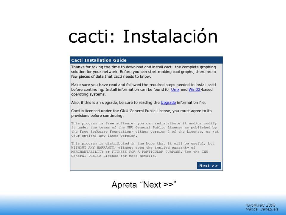 cacti: Instalación Apreta Next >>
