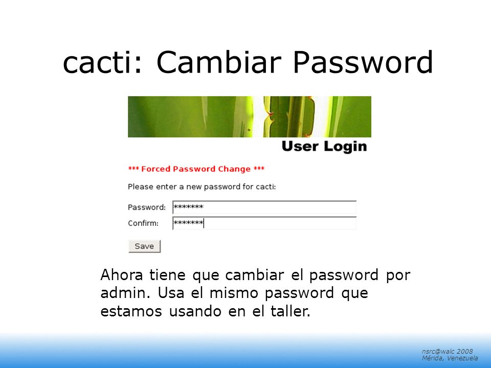 cacti: Cambiar Password