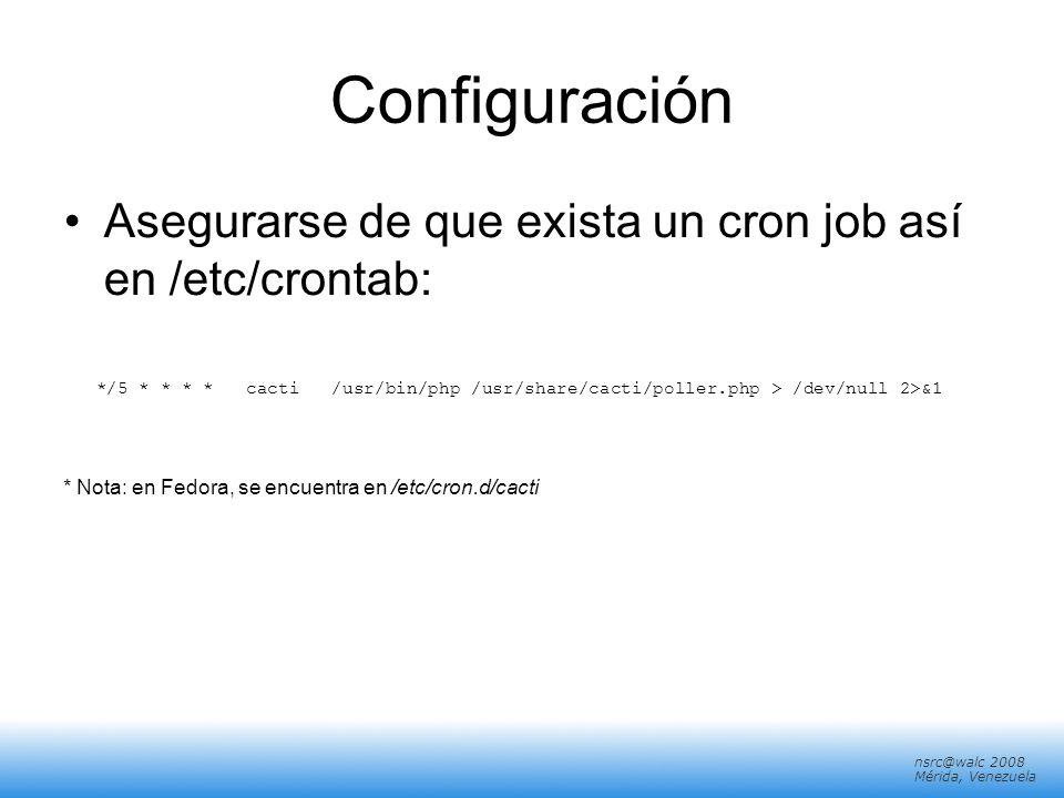 ConfiguraciónAsegurarse de que exista un cron job así en /etc/crontab: