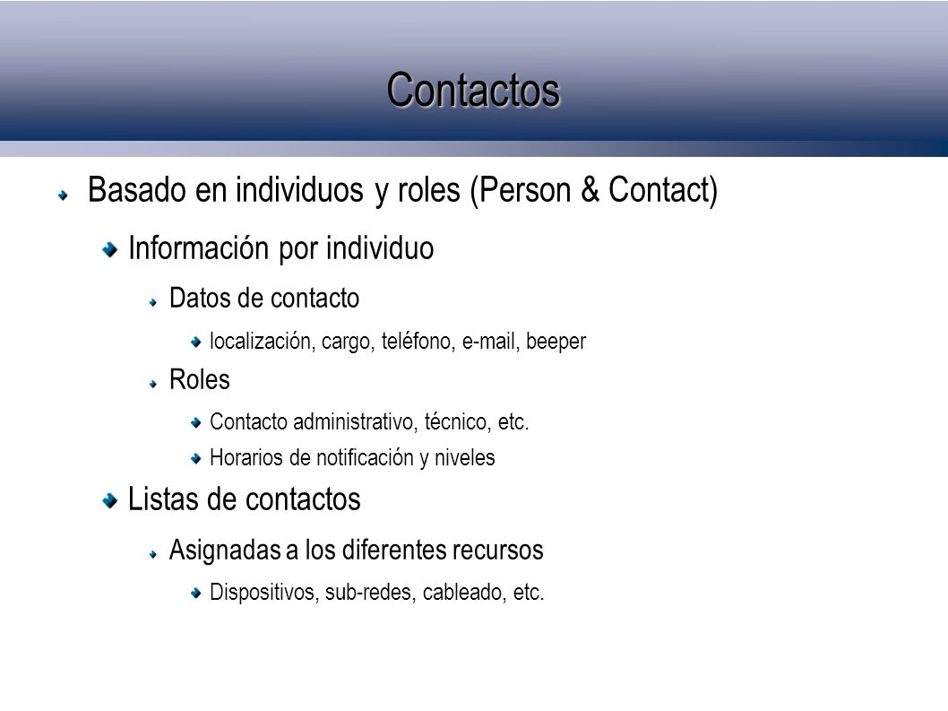 Contactos Basado en individuos y roles (Person & Contact)‏