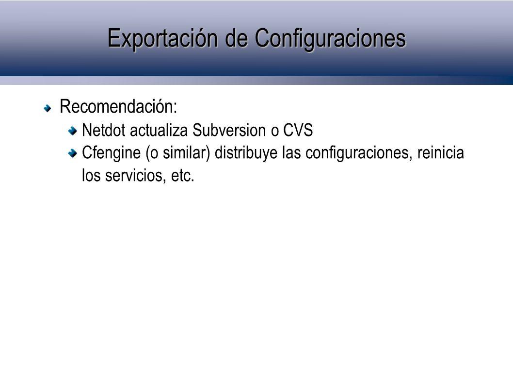 Exportación de Configuraciones