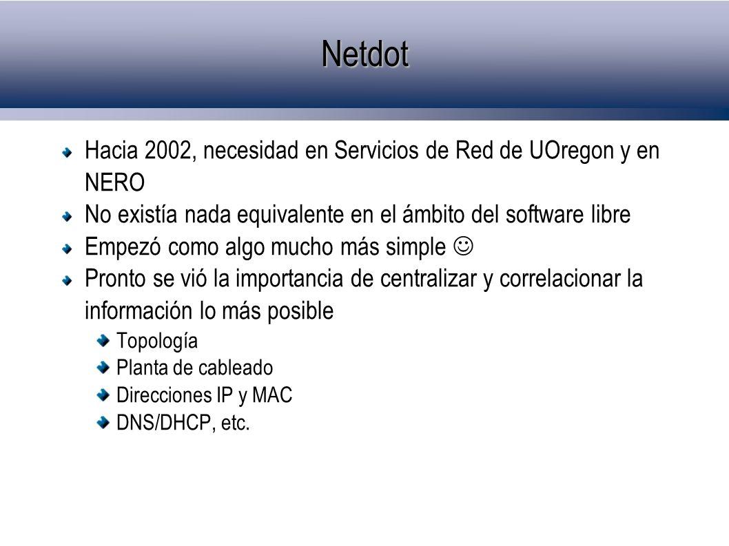 Netdot Hacia 2002, necesidad en Servicios de Red de UOregon y en NERO