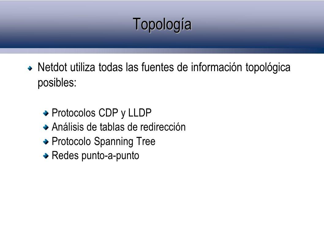 Topología Netdot utiliza todas las fuentes de información topológica posibles: Protocolos CDP y LLDP.