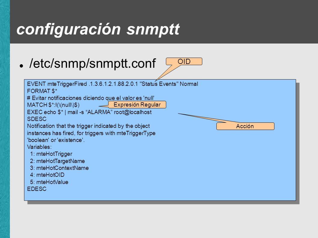 configuración snmptt /etc/snmp/snmptt.conf OID
