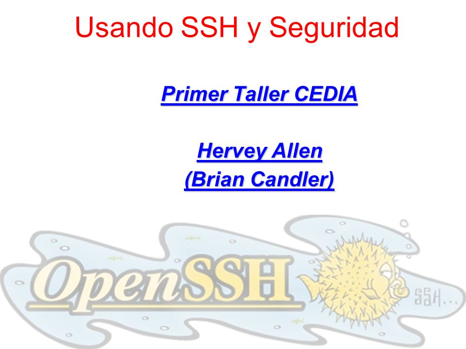 Primer Taller CEDIA Hervey Allen (Brian Candler)