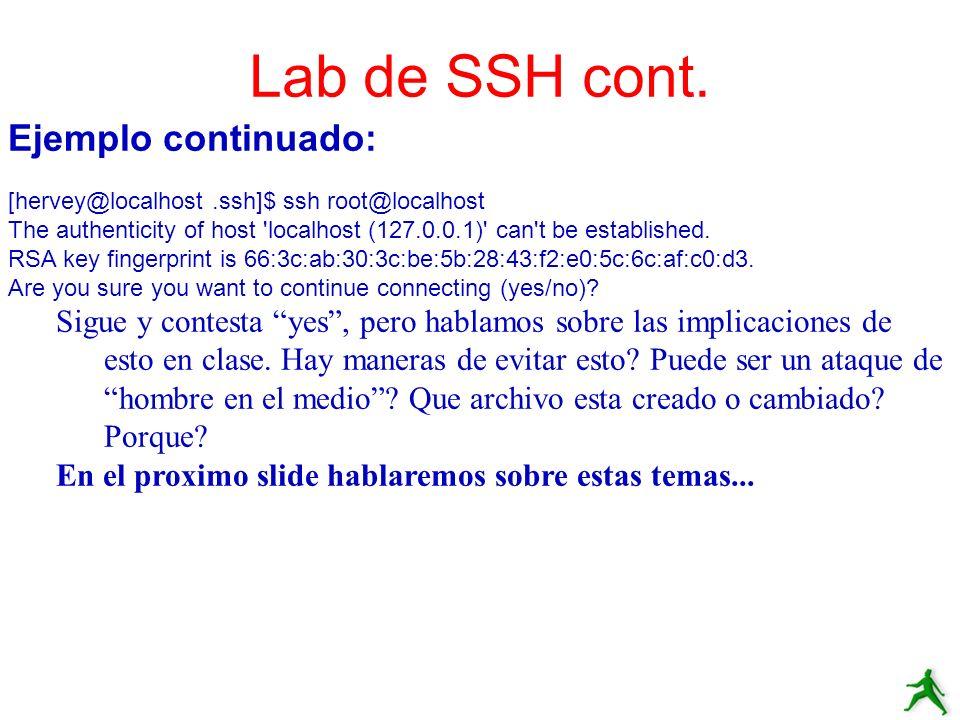 Lab de SSH cont. Ejemplo continuado:
