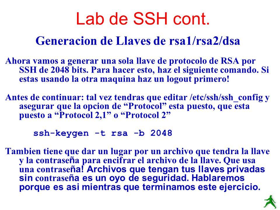 Generacion de Llaves de rsa1/rsa2/dsa
