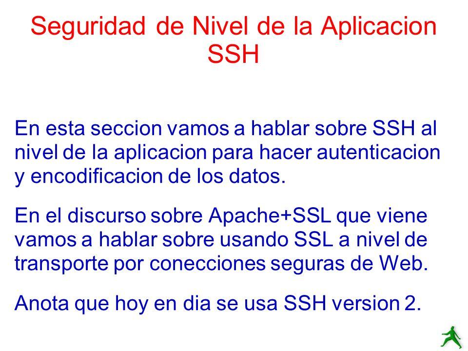 Seguridad de Nivel de la Aplicacion SSH