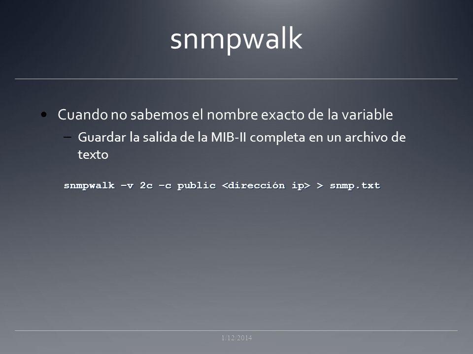 snmpwalk Cuando no sabemos el nombre exacto de la variable